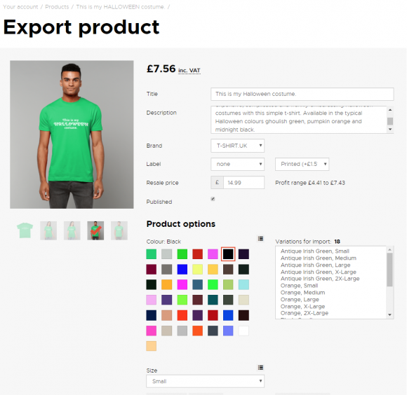 Export product from Inkthreadable